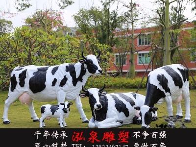 玻璃钢彩绘仿真动物奶牛树脂母子牛