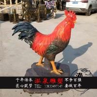 玻璃钢烤漆创意仿真动物大公鸡雕塑户外公园草坪广场景观装饰摆件