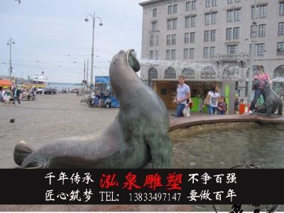 玻璃钢仿铜海豹雕塑海洋动物海狮海