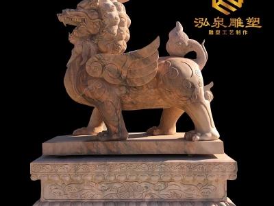 石雕貔貅晚霞红青石动物一对看门镇