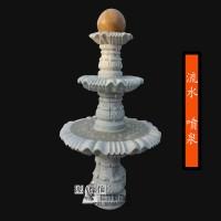 石雕晚霞红喷泉风水球庭院喷水转运球现代室内加湿器观赏水景雕刻
