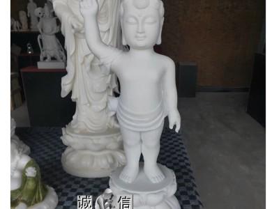 石雕天然汉白玉金童玉女佛像招财人