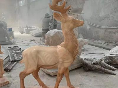 石雕晚霞红鹿大理石动物石头梅花鹿