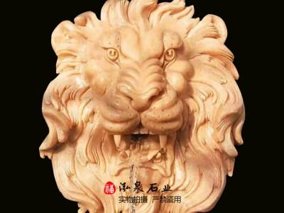 石雕狮子头动物流水雕塑
