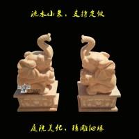 晚霞红石雕大象厂家定制销售