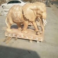 石雕晚霞红大象动物雕塑庭院风水招财雕刻