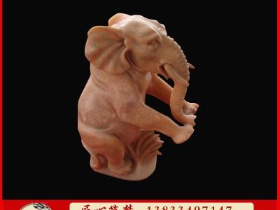 石雕流水小象晚霞红动物雕塑
