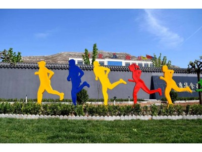 不锈钢剪影人物雕塑铁艺抽象跑步雕