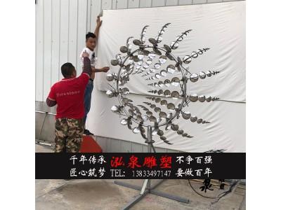 不锈钢镜面创意动态风动雕塑户外特