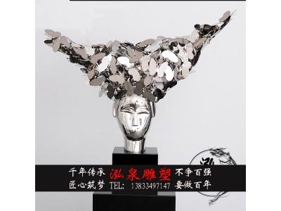 不锈钢镜面金属创意抽象人头雕塑户