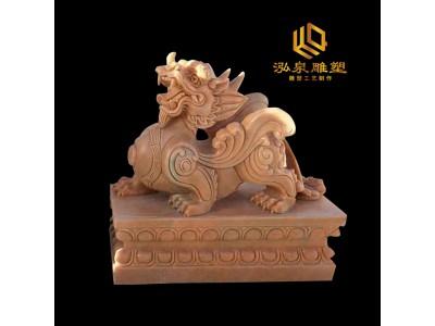 石雕貔貅晚霞红动物雕塑