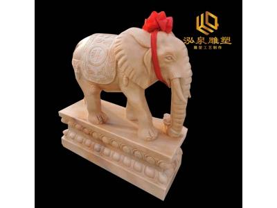 石雕大象动物晚霞红动物雕塑