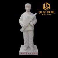 石雕雷锋全身站像汉白玉校园园林教育雕塑