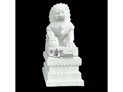 石雕狮子汉白玉动物雕塑看门镇宅公