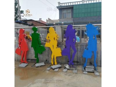 玻璃钢购物人物雕塑铁艺剪影抽象摆