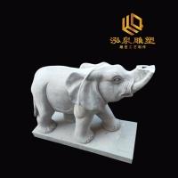 石雕大象青石一对动物雕塑家用石头小象庭院酒店门口风水招财雕刻