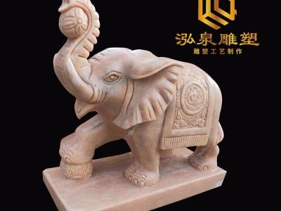 石雕小象流水晚霞红雕塑