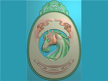 DWGJ397-JDP格式,挂坠形 马头挂件精雕图,挂坠形 马头挂件雕刻图