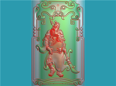 GUAN199-玉雕牌子站相关公全身关公挂件JDP格式激光雕刻图案关云长,关羽,关二爷电脑精雕图下载