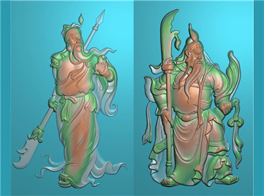 GUAN369-玉雕牌子站相关公全身关公挂件JDP格式激光雕刻图案关云长,关羽,关二爷电脑精雕图下载
