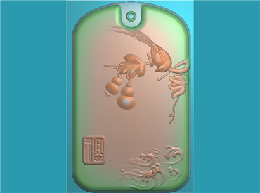 HNYC429-玉雕牌子花鸟喜鹊挂件JDP格式激光雕刻图案电脑精雕图下载