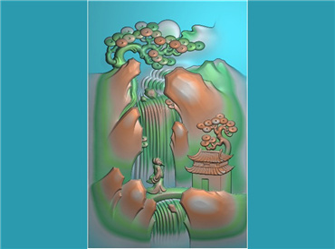 SSGJ101-玉雕牌子山水风景人物挂件JDP格式激光雕刻图案玉雕挂件山水风景电脑精雕图下载