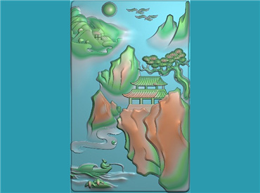 SSGJ158-玉雕牌子山水风景垂钓人物挂件JDP格式激光雕刻图案玉雕挂件风景电脑精雕图下载