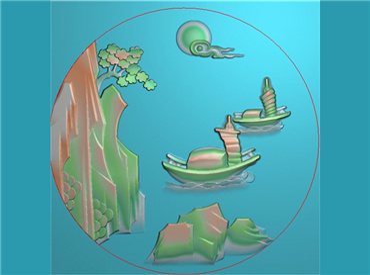 SSGJ213-玉雕圆牌山水风景人物挂件JDP格式激光雕刻图案玉雕挂件风景电脑精雕图下载