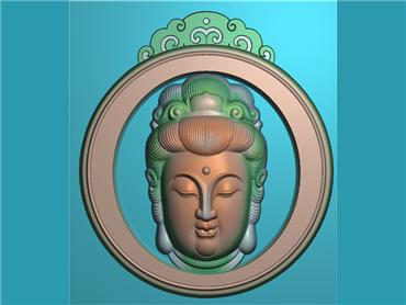 FOGJ1430-JDP格式,圆形镂空漂亮观音菩萨头精品挂件精雕图下载
