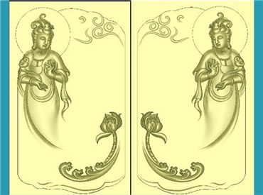 FOGJ2352-JDP格式,观音菩萨荷花牌精品挂件精雕图下载