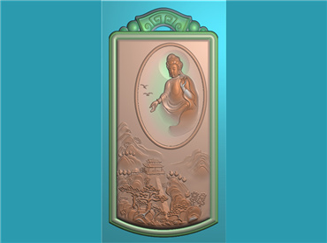 FOGJ2408-JDP格式,山水观音菩萨精品挂件精雕图下载