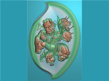 FOGJ429-JDP格式,钟馗抓鬼挂件(含灰度图)精雕图钟馗抓鬼牌子雕刻图