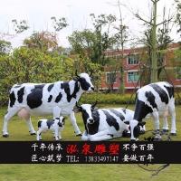 玻璃钢彩绘仿真动物奶牛树脂母子牛雕塑户外公园广场草坪景观摆件