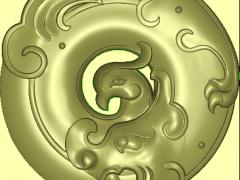 PNK001-龙凤平安扣龙凤挂件(带线)玉雕精雕图