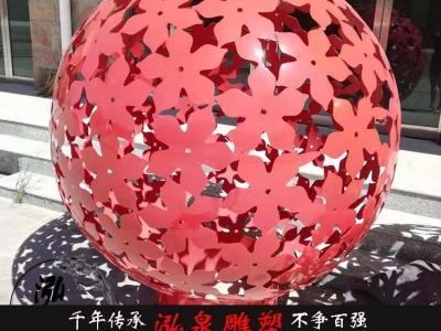 不锈钢创意镂空大型立体树叶圆球雕