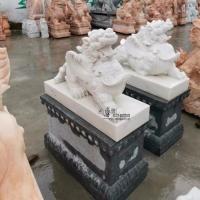 石雕貔貅一对晚霞红庭院风水招财门墩别墅门口装饰厂家定制销售