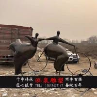 玻璃钢仿铜人物雕塑创意抽象小胖子骑自行车大型户外步行街装饰品