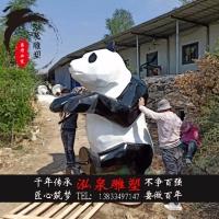 玻璃钢彩绘创意仿真几何切面动物熊猫雕塑动物园公园草坪装饰摆件