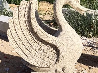 石雕喷水天鹅雕塑动物流水龙头汉白