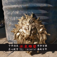 玻璃钢树脂仿真欧式壁挂式狮子头流水雕塑庭院园林工艺品装饰摆件
