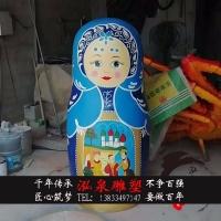玻璃钢彩绘俄罗斯套娃雕塑仿真卡通不倒翁商场步行街美观迎宾摆件