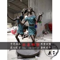 玻璃钢树脂彩绘三个小女孩跳舞玩耍雕塑公园广场景观工艺装饰摆件
