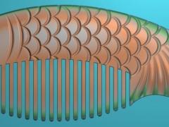 RYXLSZ023-年年有余鱼形梳子精雕图下载