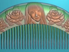 RYXLSZ032-玫瑰美女梳子精雕图下载