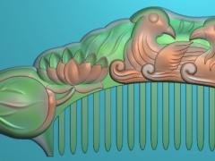 RYXLSZ042-鸳鸯戏水梳子精雕图下载