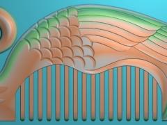 RYXLSZ043-鸳鸯戏水梳子精雕图下载