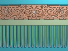 RYXLSZ047-仿古花纹梳子精雕图下载