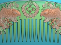 RYXLSZ049-双鱼梳子精雕图下载