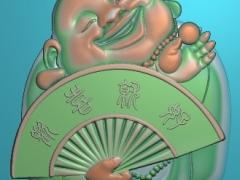 GJFX016-笑佛拿扇挂件精雕图下载