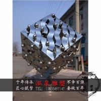 不锈钢镜面镂空正方体雕塑户外城市园林地标建筑创意景观装饰摆件